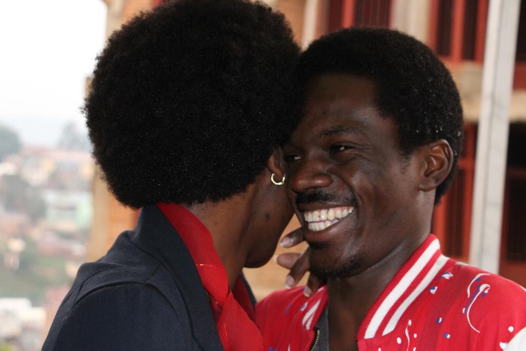 Joyeux  Bin Kabodjo et Katia Boji lors de la présentation de la marque, Le seul
